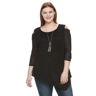 Plus Size AB Studio Cold-Shoulder Necklace Top