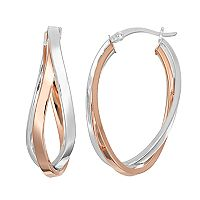 Silver Classics Two Tone Sterling Silver Twist Oval Hoop Earrings