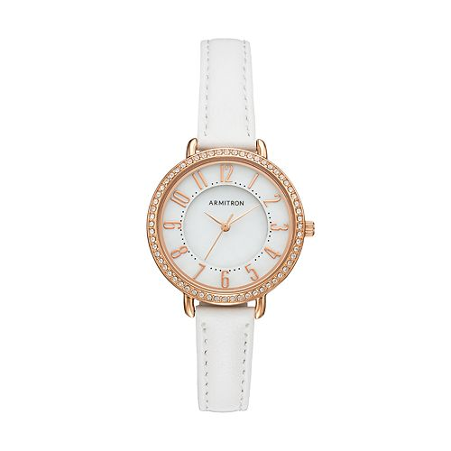 Armitron Women's Crystal Leather Watch - 75/5403MPRGWT