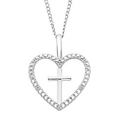 Sterling Silver Diamond Accent Cross & Heart Pendant Necklace