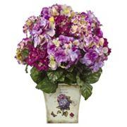 nearly natural Blue, Purple & White Hydrangea Artificial Floral Arrangement
