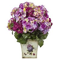 nearly natural Blue, Purple & White Hydrangea Artificial Floral Arrangement