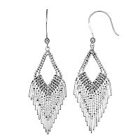 Sterling Silver Beaded Chandelier Earrings
