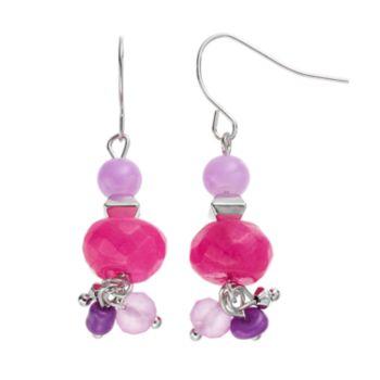 Purple Beaded Linear Drop Earrings