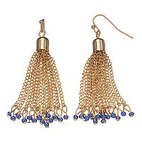 Blue Seed Bead Chain Tassel Drop Earrings