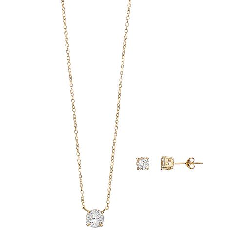 14k Gold Over Silver Lab-Created White Sapphire Solitaire Pendant & Stud Earring Set