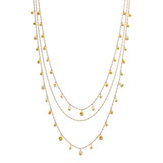 Yellow Shaky Bead Multi Strand Necklace