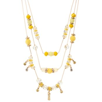 Yellow Beaded Pineapple Charm Layered Necklace