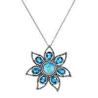 Sterling Silver Blue Quartz Flower Pendant Necklace