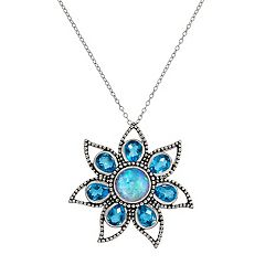 Sterling Silver Blue Quartz Flower Pendant Necklace