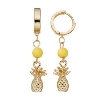 Yellow Beaded Pineapple Nickel Free Hoop Earrings