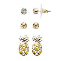 Yellow Pineapple & Ball Stud Nickel Free Earring Set