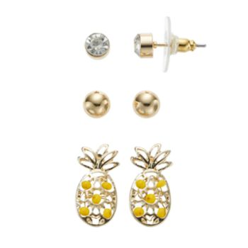 Yellow Pineapple & Ball Stud Nickel Free Earring Set