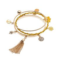 Yellow Pineapple & Tassel Charm Bangle Bracelet Set