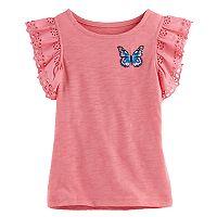 Girls 4-12 SONOMA Goods For Life™ Eyelet Flutter-Sleeved Top