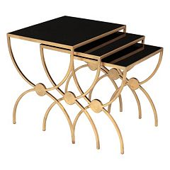 Safavieh Couture Black Glass Nesting End Table 3-piece Set