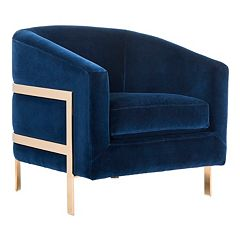 Click here to buy Safavieh Couture Navy Velvet Club Accent Chair .
