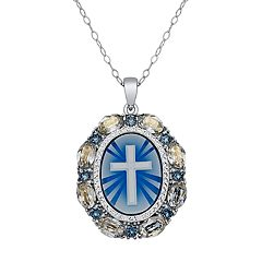Crystal pendants necklaces jewelry kohls sterling silver crystal cross cameo pendant aloadofball Choice Image