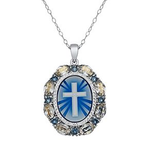Sterling Silver Crystal Cross Cameo Pendant