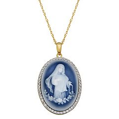18k Gold Over Silver Crystal Virgin Mary Cameo Pendant