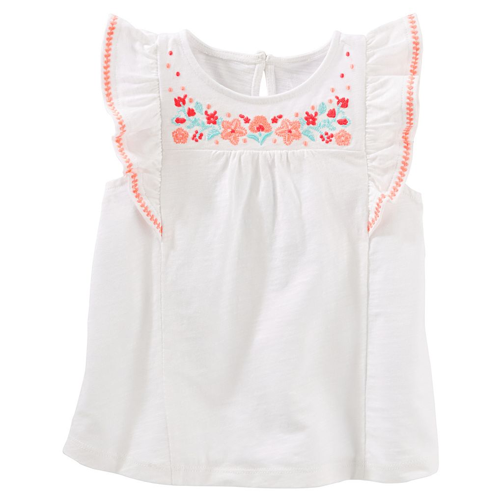 Girls 4-8 OshKosh B'gosh® Embroidered-Yoke Top