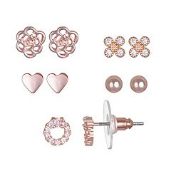 LC Lauren Conrad Cubic Zirconia Heart & Flower Nickel Free Stud Earring Set