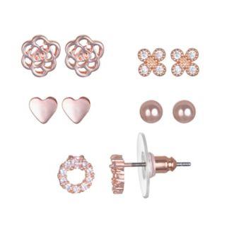 LC Lauren Conrad Cubic Zirconia Heart & Flower Nickel Free Stud Earring Set