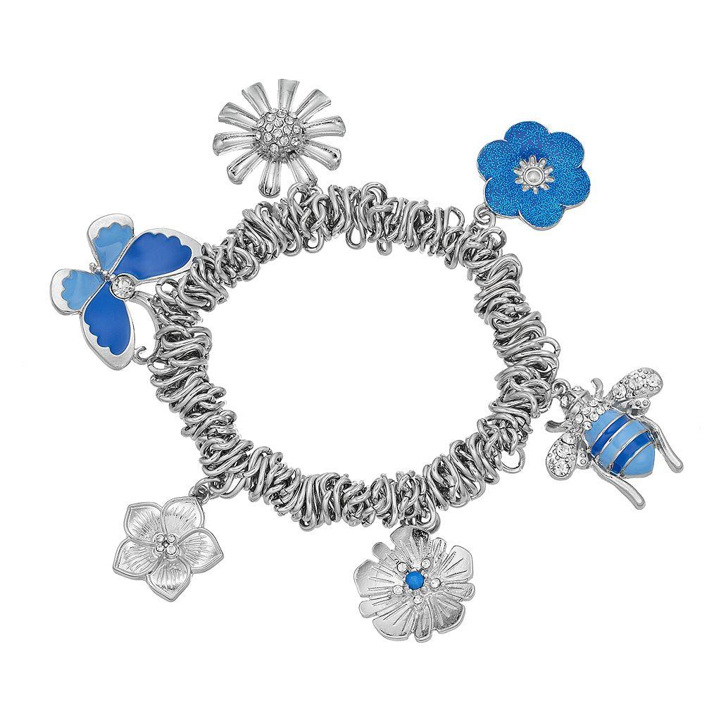 Butterfly, Bee & Flower Charm Stretch Bracelet