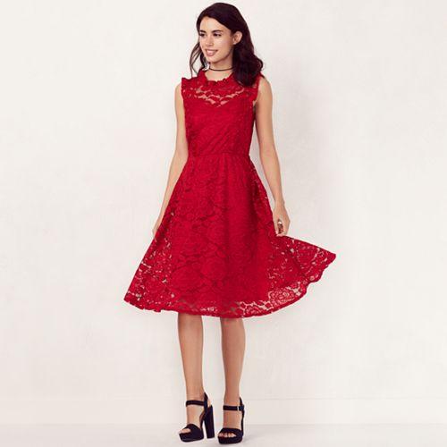 86c132c6045ac Women's LC Lauren Conrad Mockneck Floral Lace Dress