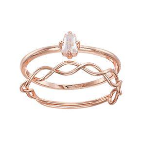 LC Lauren Conrad Cubic Zirconia & Twisted Ring Set