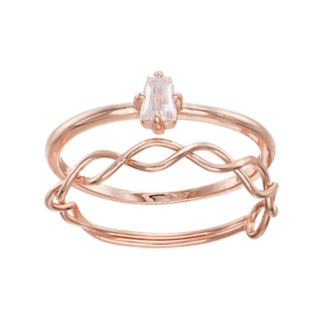 LC Lauren Conrad Cubic Zirconia & Twisted Ring Set