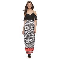 Juniors' Trixxi Cold Shoulder Maxi Dress