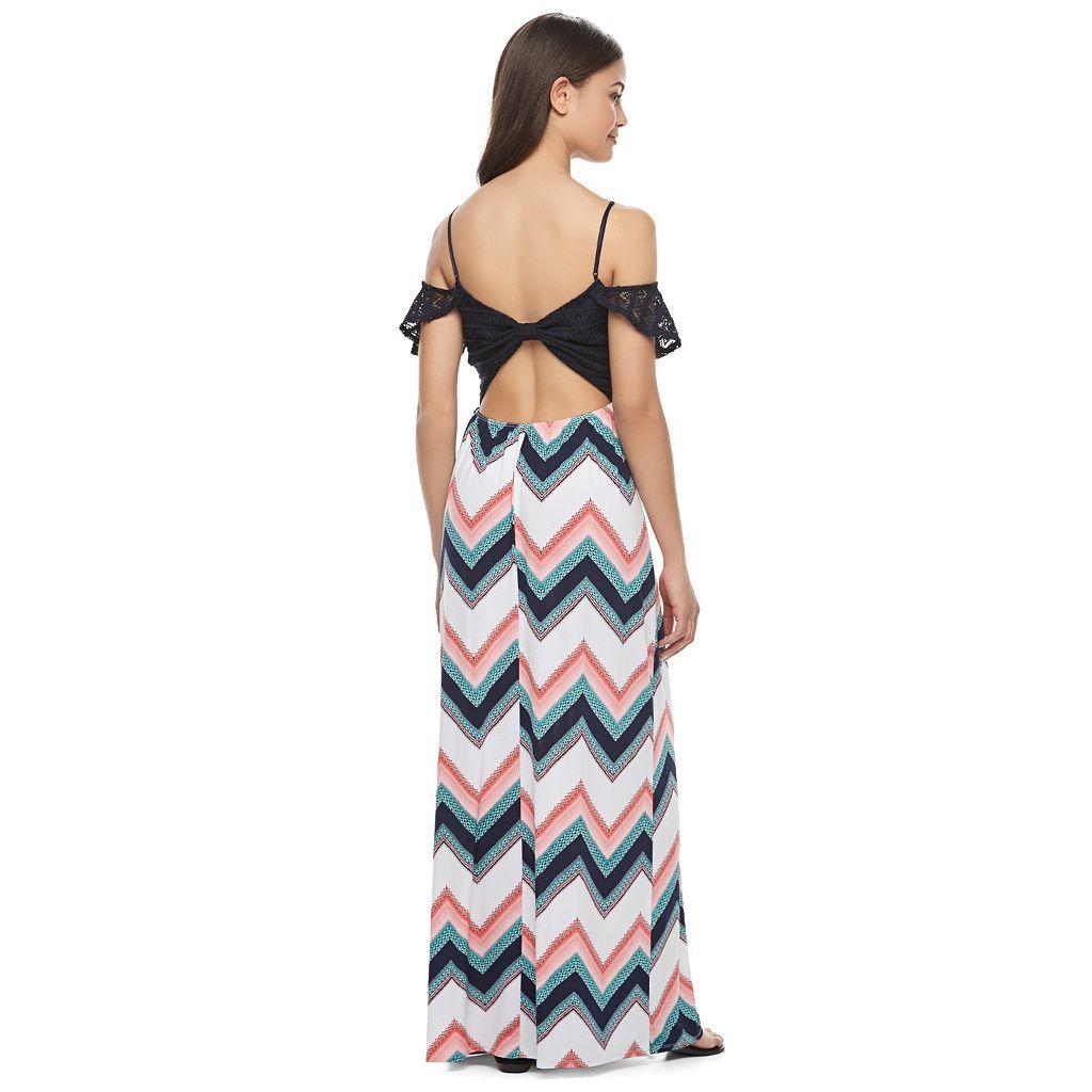 Juniors' Trixxi Cold Shoulder Maxi Dress