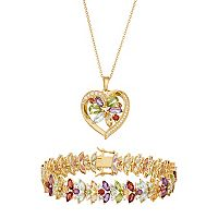 18k Gold Plated Gemstone Heart Pendant & Bracelet Set
