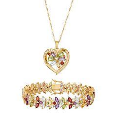 18k Gold Plated Gemstone Heart Pendant & Bracelet Set