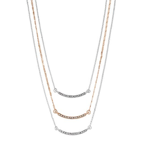 LC Lauren Conrad Two Tone Pave Curved Bar Layered Necklace