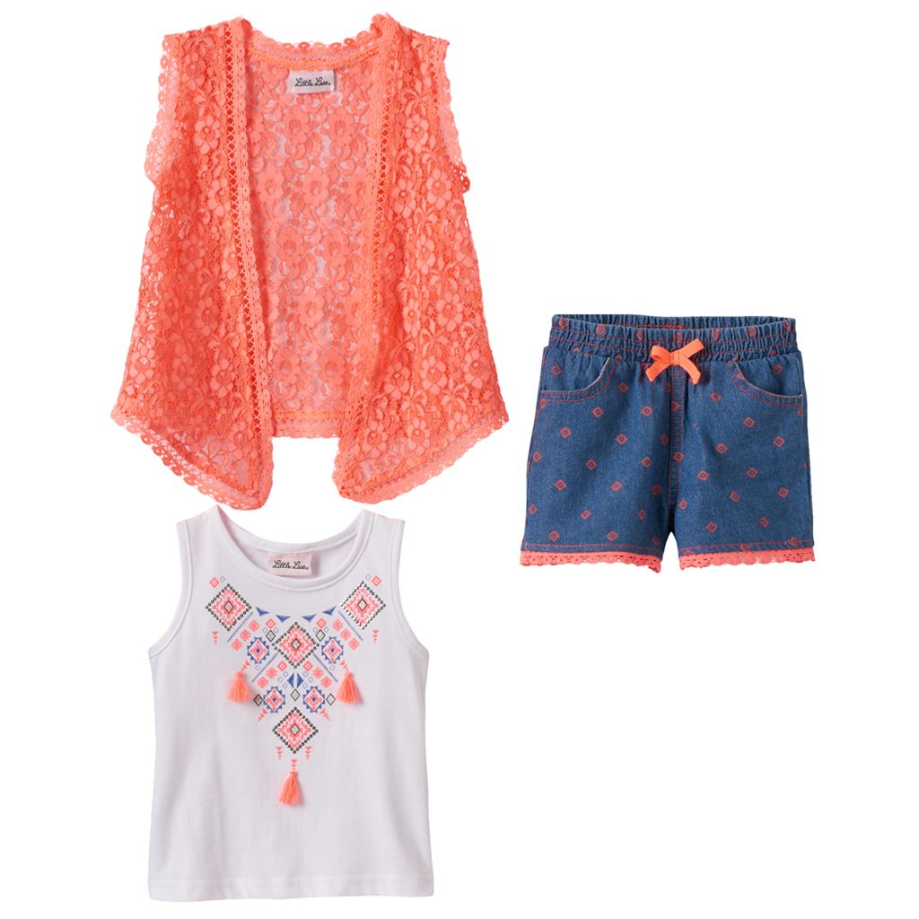 Baby Girl Little Lass Tassel Tank Top, Lace Vest & Printed Shorts Set