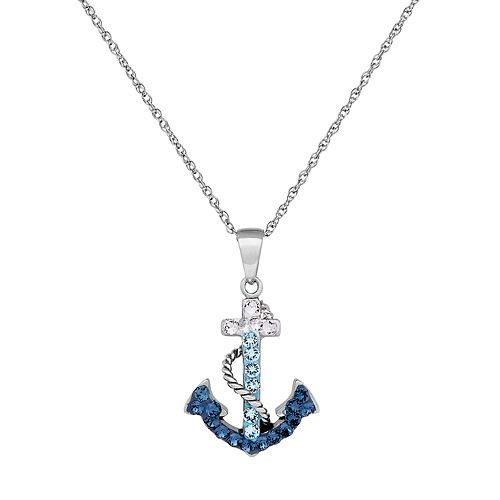 Artistique Sterling Silver Crystal Anchor Pendant Necklace