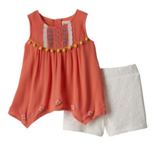 Baby Girl Little Lass Embroidered Gauze Tank Top & Lace Shorts Set