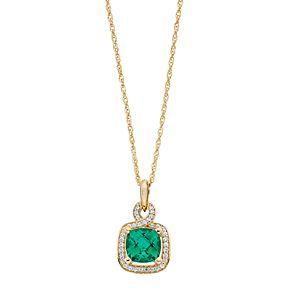 14k Gold Over Silver Lab-Created Emerald & Lab-Created White Sapphire Square Halo Pendant