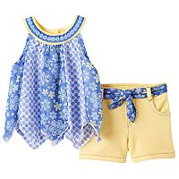 Baby Girl Little Lass Print Chiffon Tank Top & Shorts Set