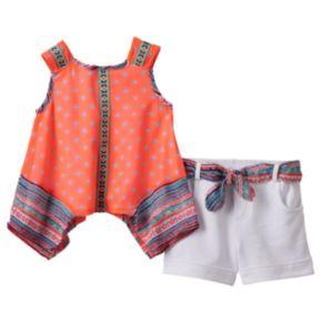 Baby Girl Little Lass Tribal Chiffon Tank Top & Cuffed Shorts Set
