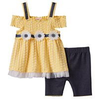 Baby Girl Little Lass Cold-Shoulder Smocked Top & Shorts Set