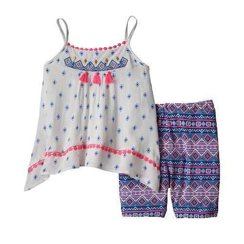 Baby Girl Little Lass Embroidered Gauze Tank Top & Tribal Bike Shorts Set