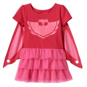 Toddler Girl PJ Masks Owlette Tiered Mesh Dress & Cape Set