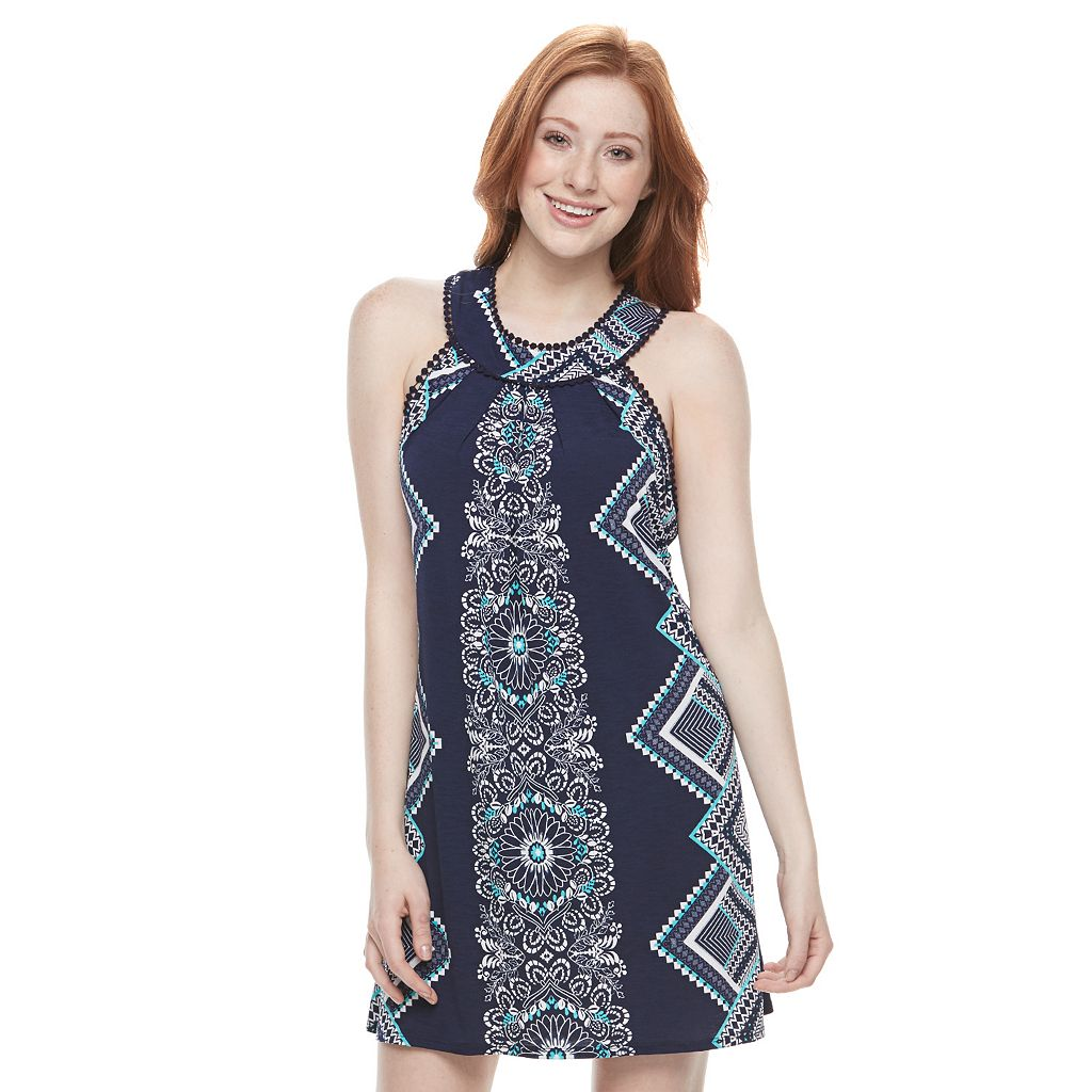 Juniors' Trixxi Print Halter Dress