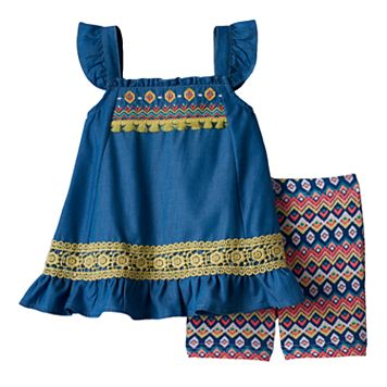 Baby Girl Little Lass Embroidered Chambray Tunic & Tribal Bike Shorts Set