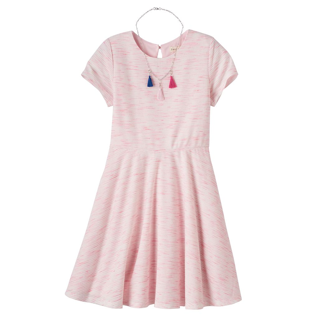 Girls 7-16 Four Threads Space-Dyed Skater Dress with Removable Tassel Necklace
