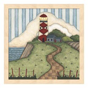 Red Diamond Lighthouse Framed Wall Art