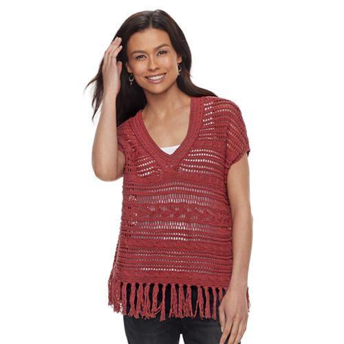 Petite SONOMA Goods for Life™ Pointelle V-Neck Sweater